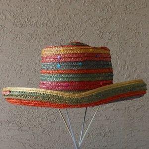 4b459fdb RAINBOW & Sequin Straw Gambler Hat- EUC ...